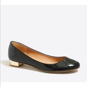 J Crew Lily Metallic-Heel Patent Ballet Flats Sz:6